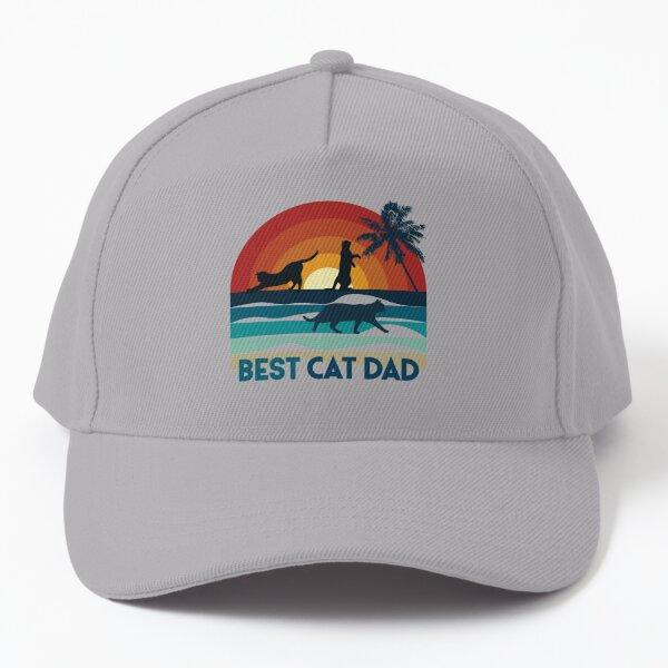 Best cat dad, chat sur coucher de soleil à la plage Casquette de baseball