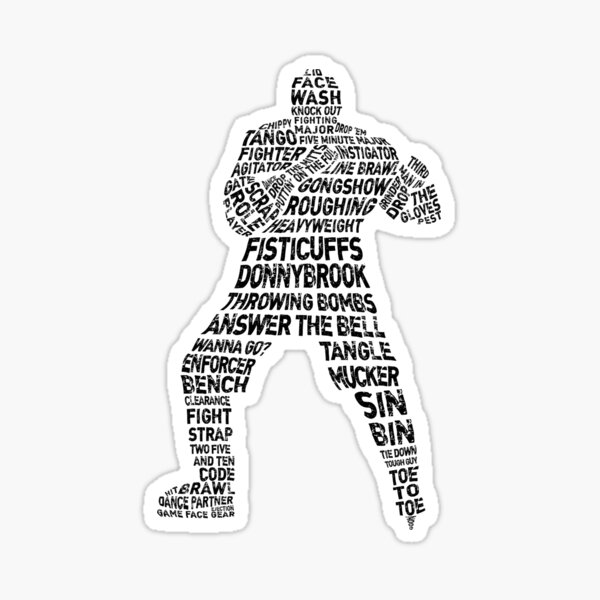 Hockey Enforcer Typography, Hockey Word Art Sticker