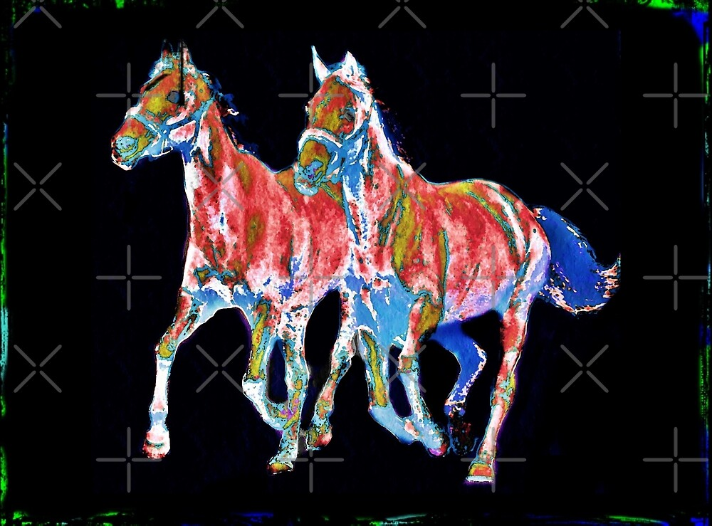 Pair of Painted Horses by diane  addis