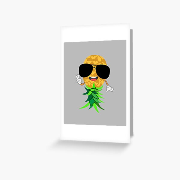 Upside Down Pineapple Swinger Sign Plays Well with Others Greeting Card