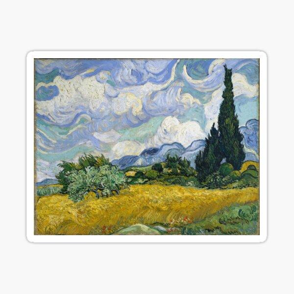 Vincent Van Gogh - Weizenfeld mit Zypressen Sticker