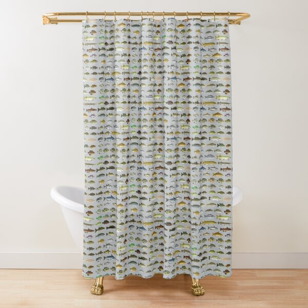 North American Freshwater Fish Group Shower Curtain