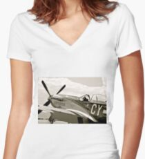 P-51 Mustang Fighter Plane Women's Fitted V-Neck T-Shirt