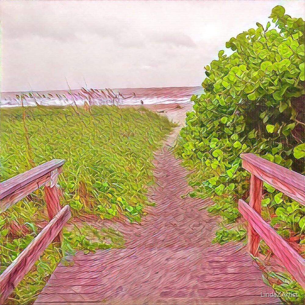 Blushing Beach by LindaZArtist