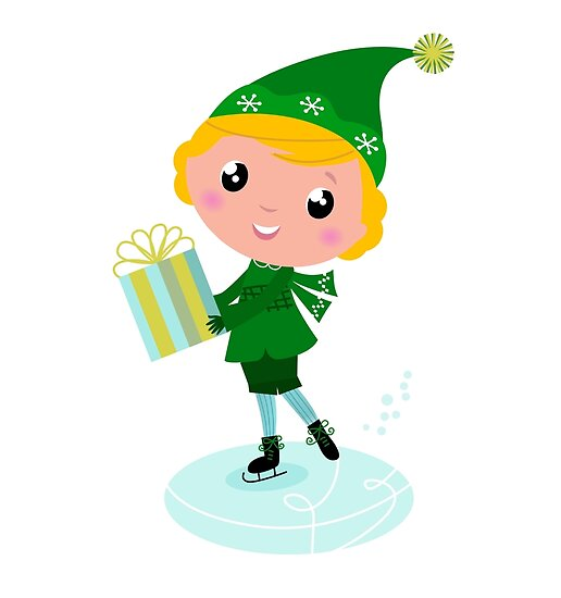 Cute Christmas ice skating Elf with Gift isolated on white by Bee and Glow Illustrations Shop