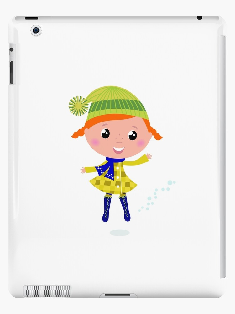 Happy cute little Christmas Child - vector cartoon Illustration by Bee and Glow Illustrations Shop