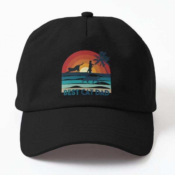 Best Cat Dad, chat sur coucher de soleil à la plage, fond noir Casquette Dad Hat