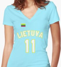 Arvydas Sabonis 11 Lithuania Basketball  Women's Fitted V-Neck T-Shirt