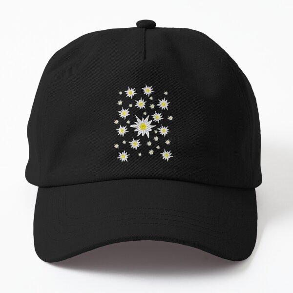 Edelweiss Pattern on Black Dad Hat