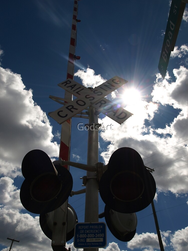 Sunburst Railroad Crossing by GodsArt