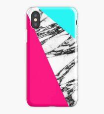 Modern Pink Teal Black White Marble Geometric Tricut iPhone Case/Skin