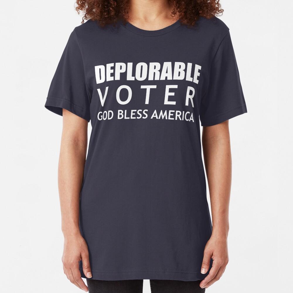 Deplorable Voter #basketofdeplorables Election 2016 White Slim Fit T-Shirt