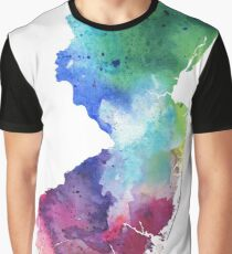 Watercolor Map of New Jersey, USA in Rainbow Colors  Graphic T-Shirt