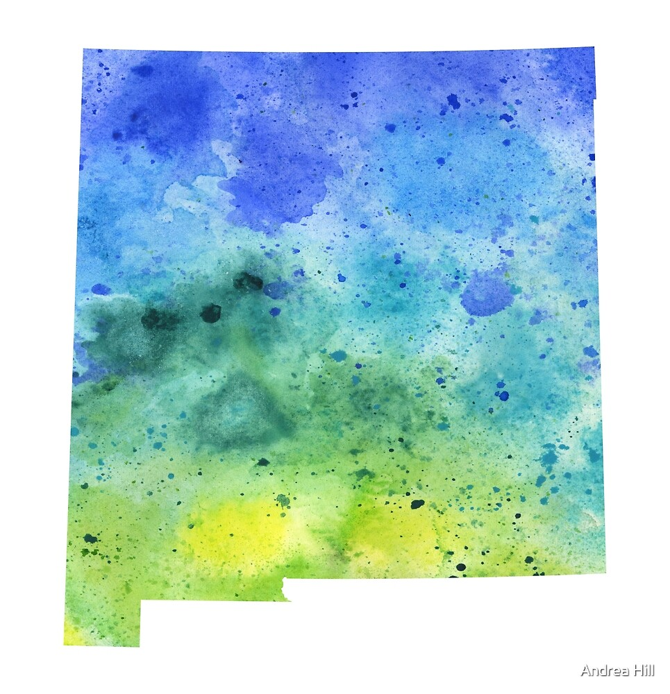 Watercolor Map of New Mexico, USA in Blue and Green  by Andrea Hill