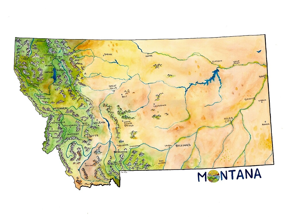 Montana Painted Map by taratea