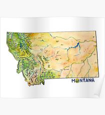 Montana Painted Map Poster