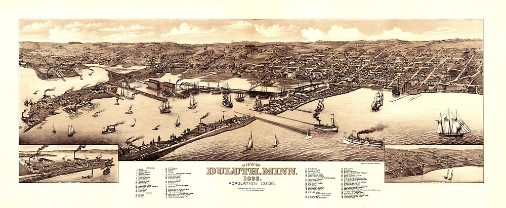 Map Of Duluth 1883 by mollyfare
