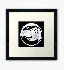 Minimalist Totoro Moon On Black  Framed Print