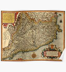 Map Of Catalonia 1608 Poster