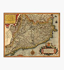 Map Of Catalonia 1608 Photographic Print