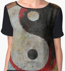 Yin Yang Red Dragon Chiffon Top