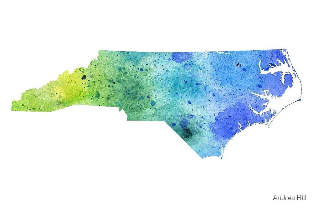 Watercolor Map of North Carolina, USA in Blue and Green by Andrea Hill