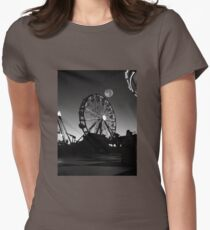 Ferris Wheel With Full Moon Womens Fitted T-Shirt