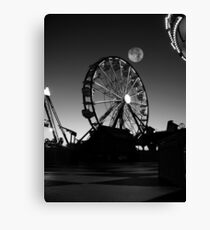 Ferris Wheel With Full Moon Canvas Print