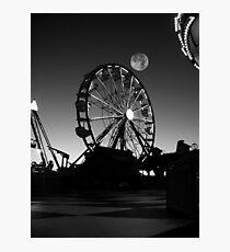Ferris Wheel With Full Moon Photographic Print