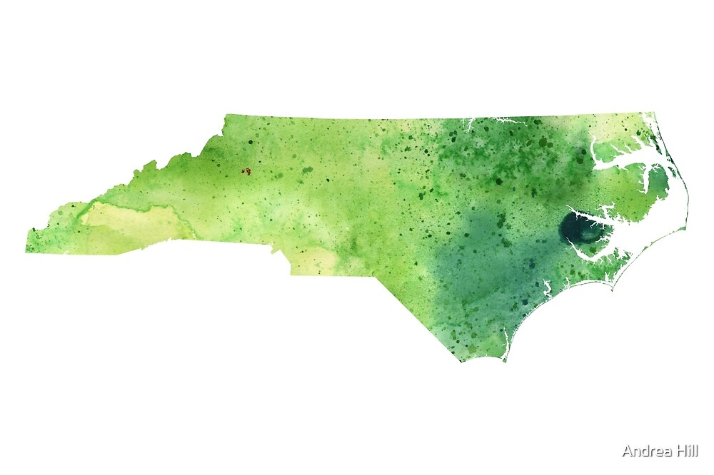 Watercolor Map of North Carolina, USA in Green by Andrea Hill