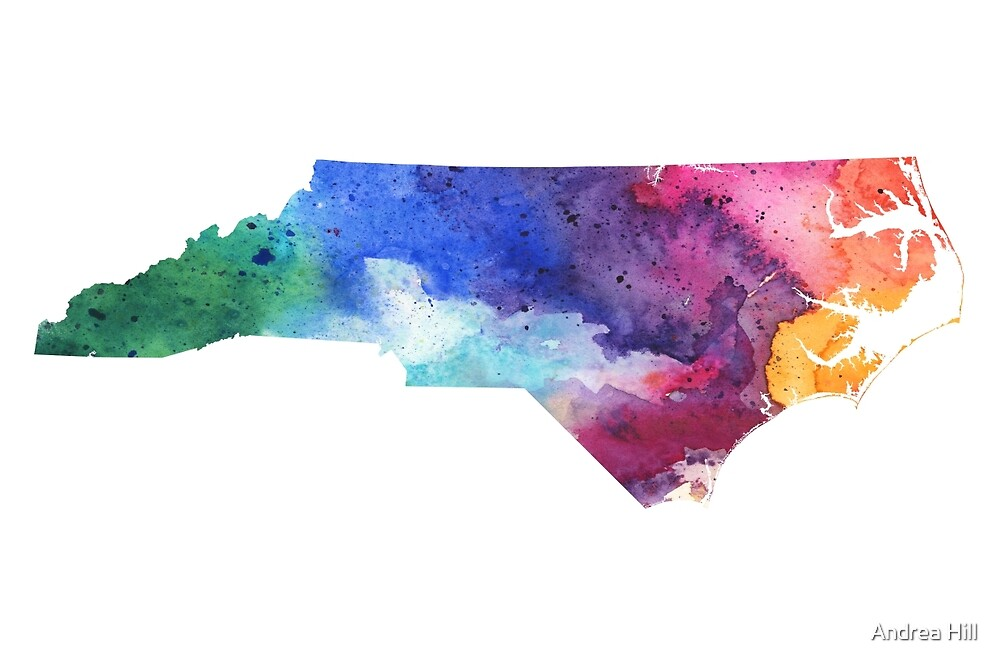 Watercolor Map of North Carolina, USA in Rainbow Colors by Andrea Hill
