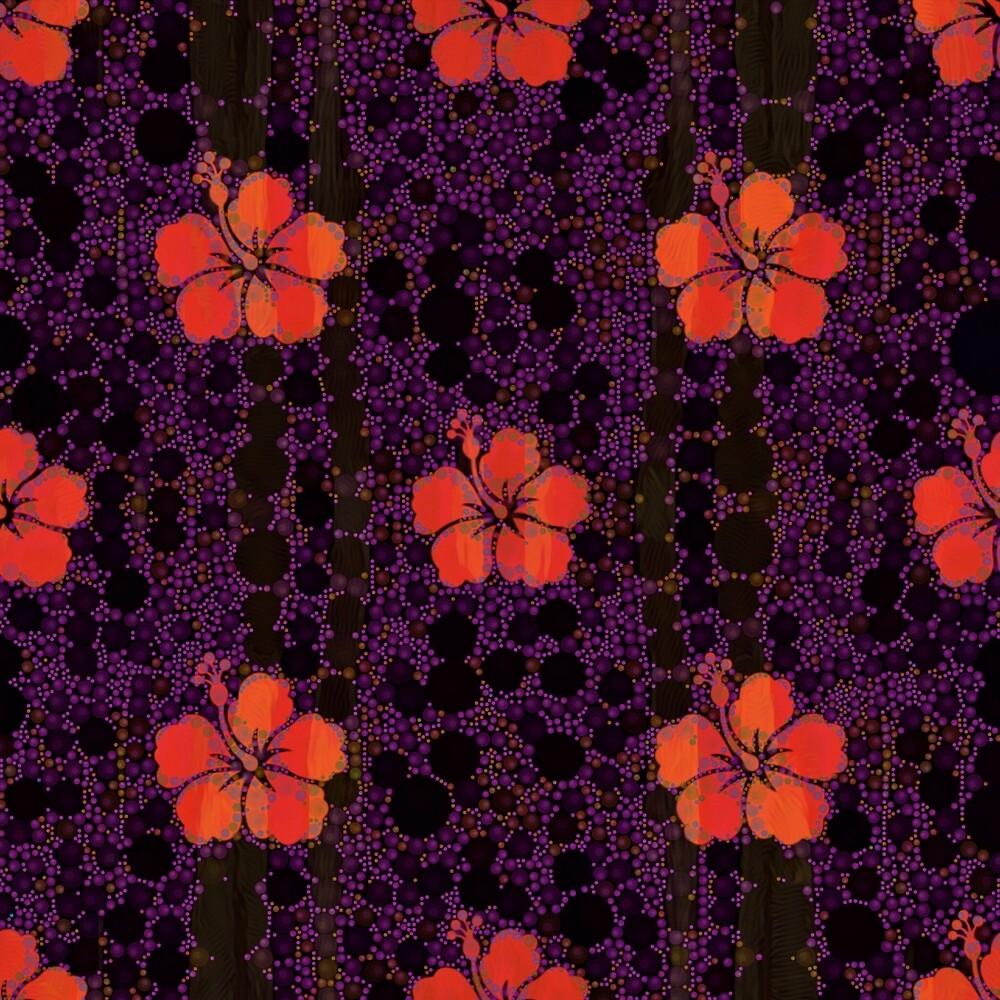 Hibiscus and Purple Polka Dots by Dana Roper