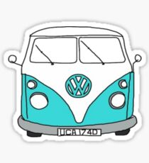 Retro Blue VW Van Sticker