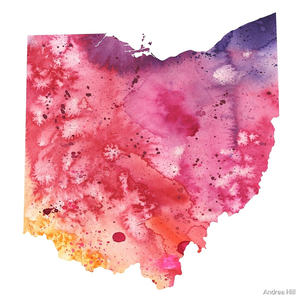 Watercolor Map of Ohio, USA in Orange, Red and Purple  by Andrea Hill