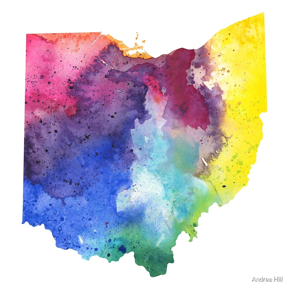 Watercolor Map of Ohio, USA in Rainbow Colors  by Andrea Hill