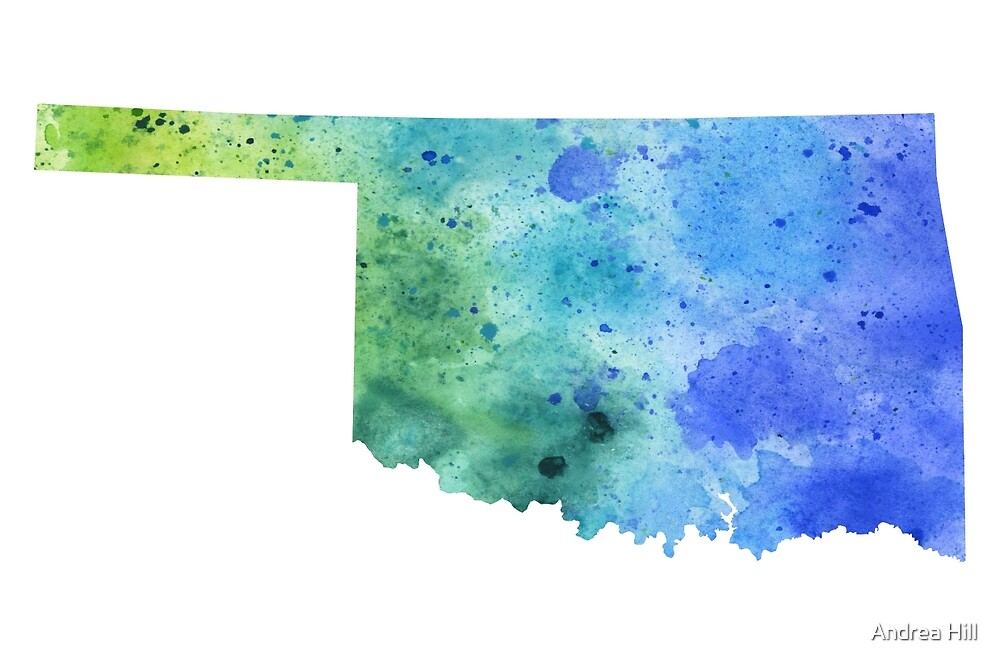 Watercolor Map of North Dakota, USA in Blue and Green by Andrea Hill