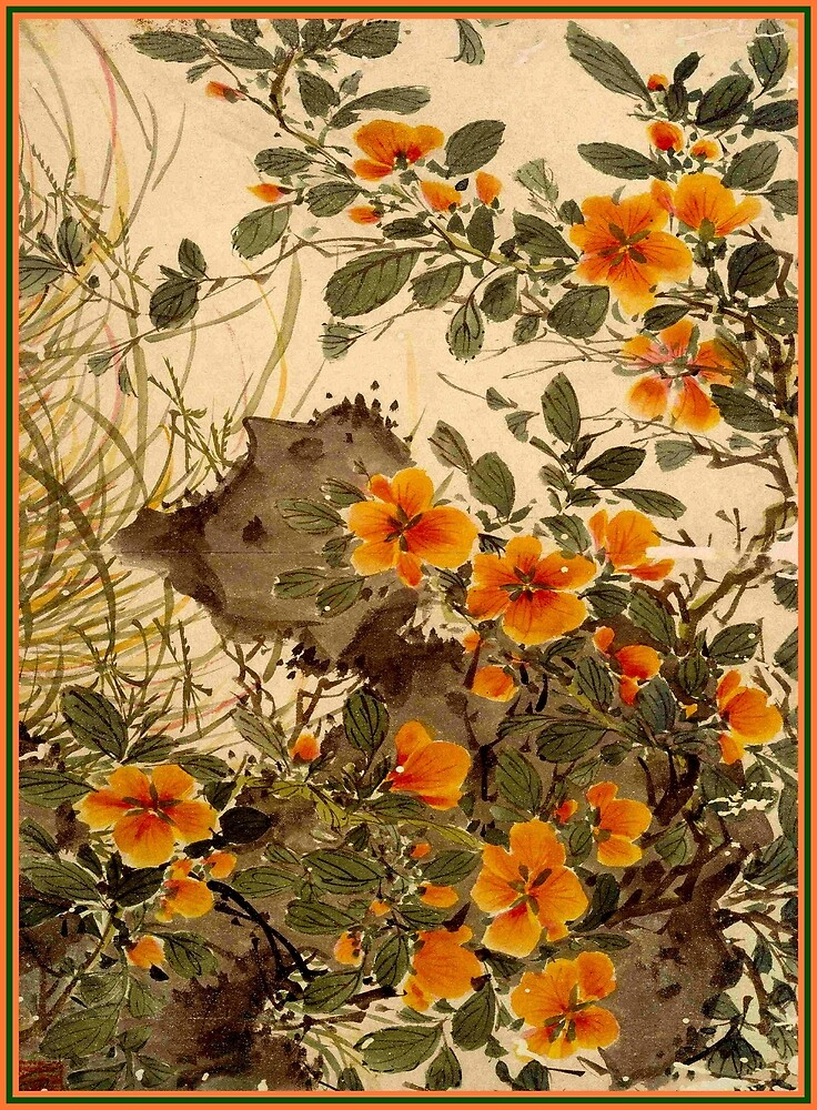 CHINA MING DYNASTY; Vintage Flower Decorative Print by posterbobs
