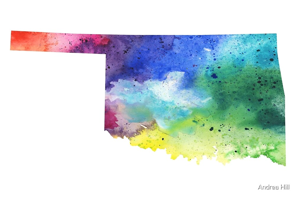 Watercolor Map of Oklahoma, USA in Rainbow Colors  by Andrea Hill