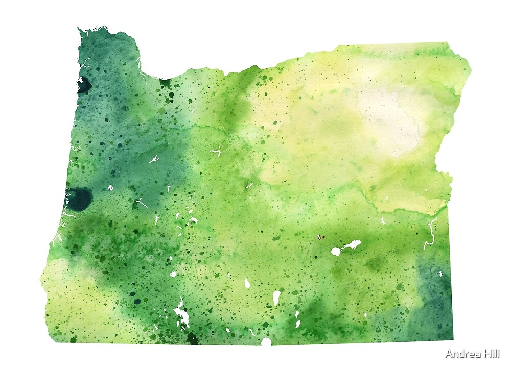 Watercolor Map of Oregon, USA in Green  by Andrea Hill