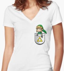 Pocket Link Hero of Time Zelda with Triforce Women's Fitted V-Neck T-Shirt