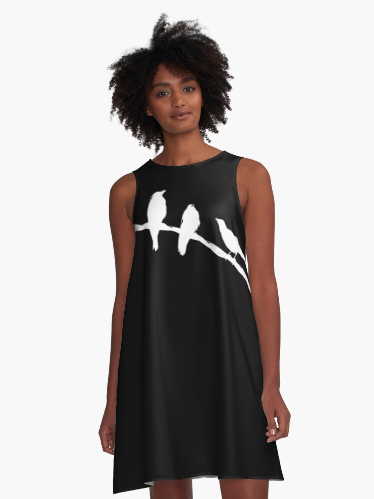 Crows on a wire A-Line Dress Front