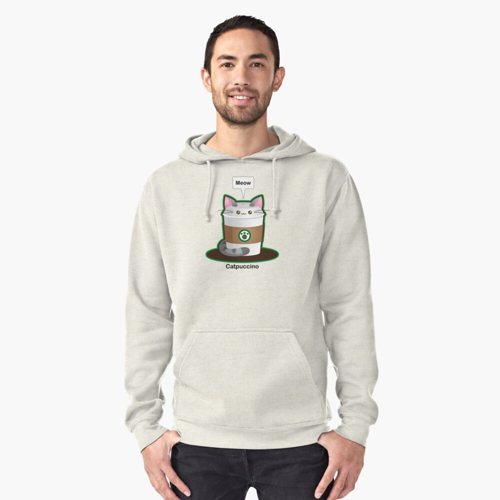 Cute Cat Coffee Pullover Hoodie Front