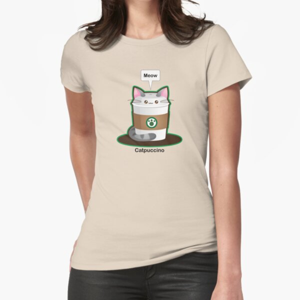 Cute Cat Coffee Fitted T-Shirt