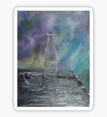 Still Life - Wine, goblet, smoke Sticker