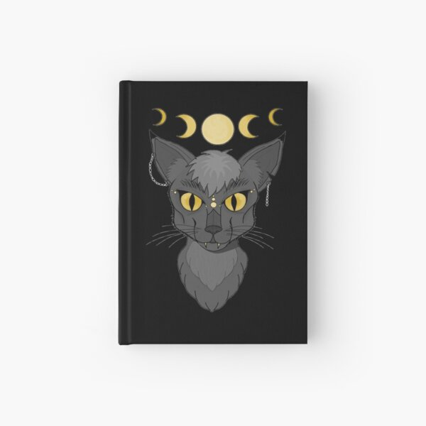 Black Moon Witch Cat Hardcover Journal