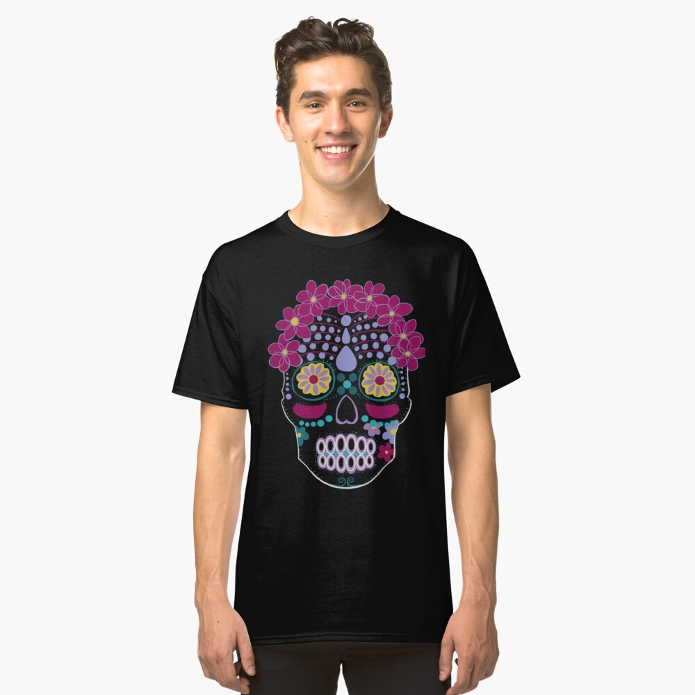 Colorful Sugar Skull Classic T-Shirt Front