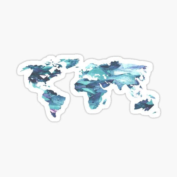 World Map Blue Crystal Sticker