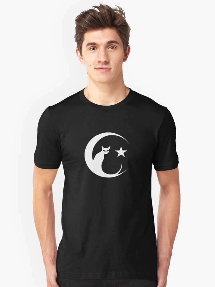 THE CAT MOON STAR FUNNY LOGO Unisex T-Shirt Front
