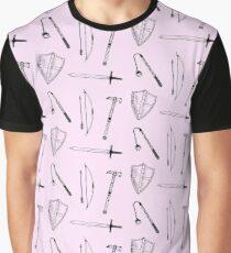 Medieval Weaponry (pink) Graphic T-Shirt