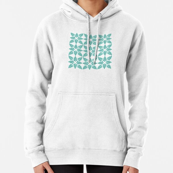 Abstract Floral Pattern   Turquoise color Palette Art Print Pullover Hoodie
